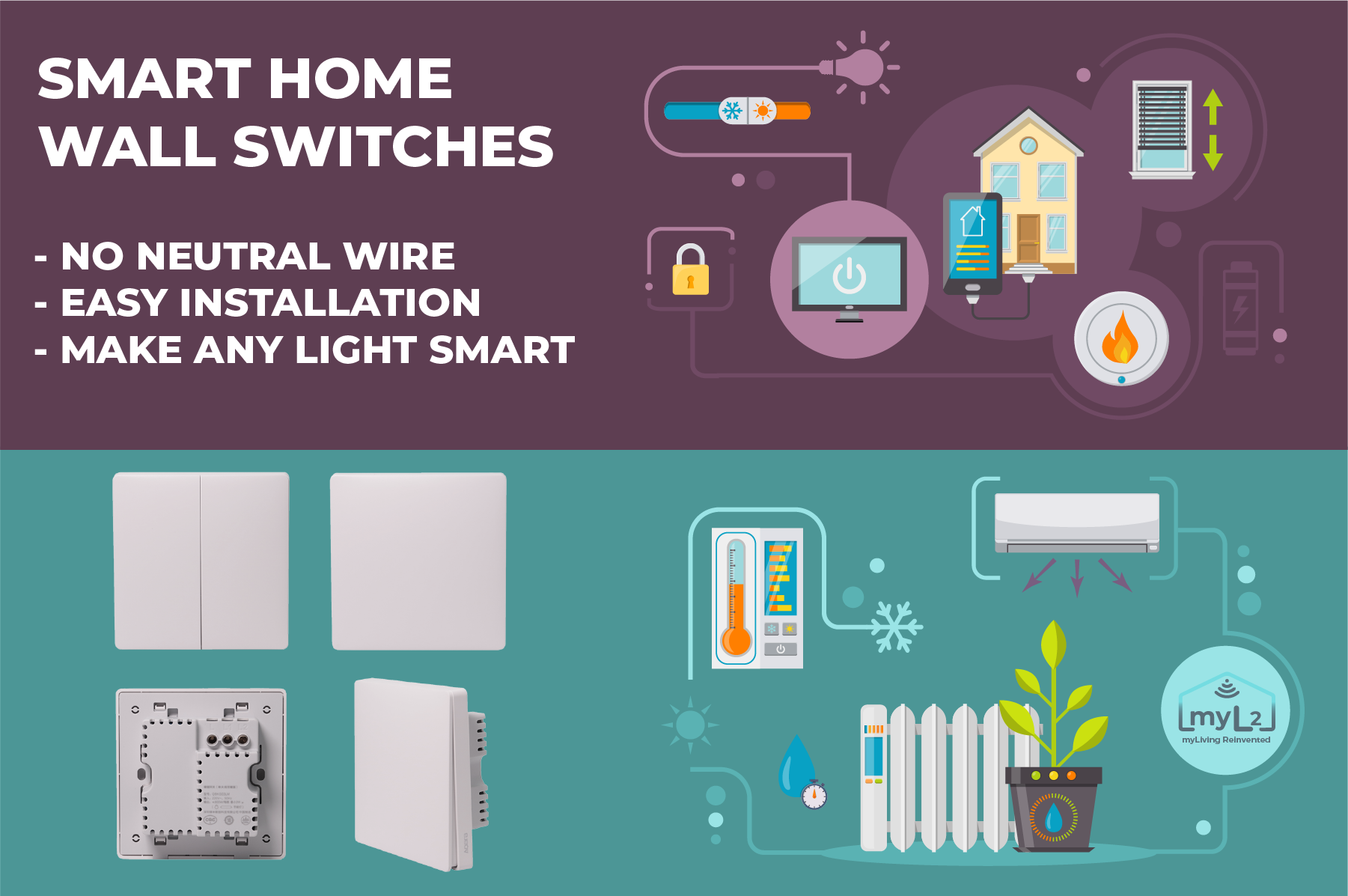 wall switches with one button two buttons no neutral wire xiaomi aqara zigbee