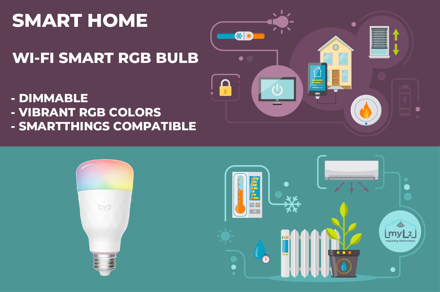 smart bulb xiaomi yeelight e27 8.5w rgb wifi smartthings