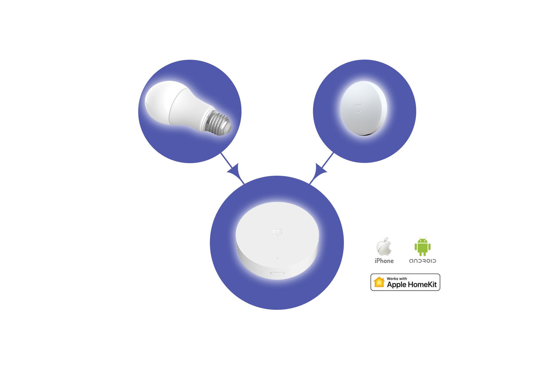 home automation hub button smart bulb