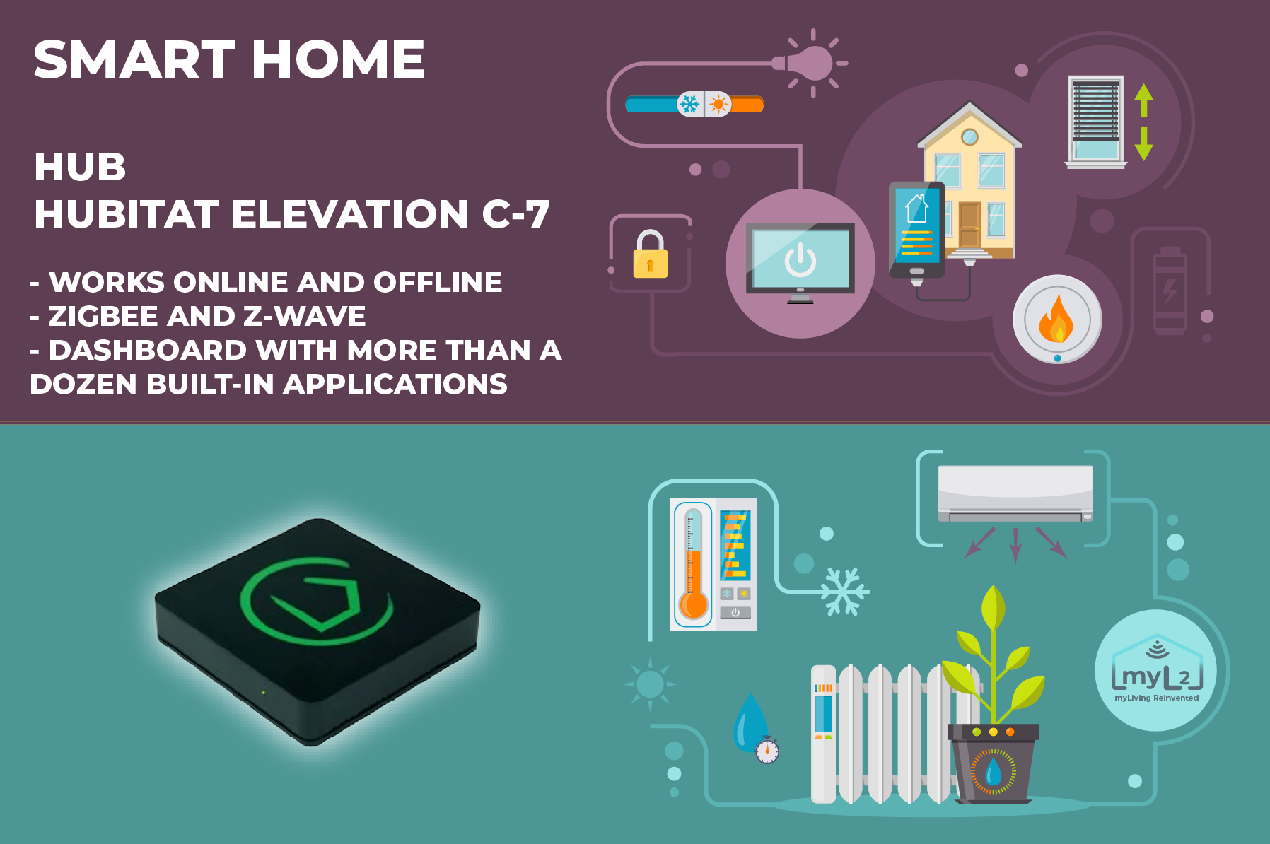 Hubitat Elevation C-7 Zigbee Z-Wave smart hub